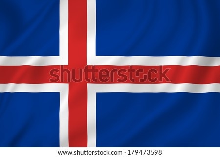 Iceland national flag background texture.