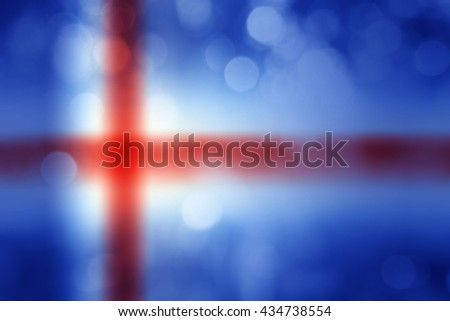ICELAND : National flag. Soft blurred bokeh natural background. Abstract gradient desktop wallpaper.  - stock photo