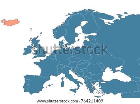 Iceland On Map Europe Stock Illustration 764211409 - Shutterstock