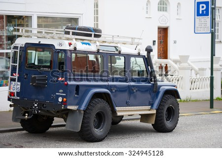 ICELAND, REYKJAVIK - SEP 13: Land Rover Defender on Sep. 13, 2015 in Reykjavik, Iceland. The iconic and legendary Land Rover Defender was issued in 1983. It goes out of production in Dec. 2015. - stock photo