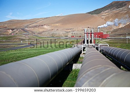 Iceland's geothermal power plant station in the Krafla volcanic region