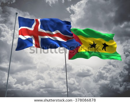 Iceland & Sao Tome and Principe Flags are waving in the sky with dark clouds
