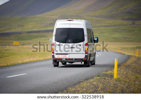 ICELAND - SEP 10: Mercedes Sprinter Van on Sep. 10, 2015 in Iceland. The Sprinter is a vehicle built by Daimler AG of Stuttgart, Germany as a van, chassis cab, minibus, and pickup truck. - stock photo