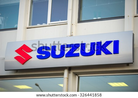 ICELAND - SEP 15: Suzuki dealership logo on Sep. 15, 2015 in Iceland. Suzuki is a Japanese multinational corporation specializing in manufacturing automobiles, four-wheel drive vehicles, motorcycles. - stock photo