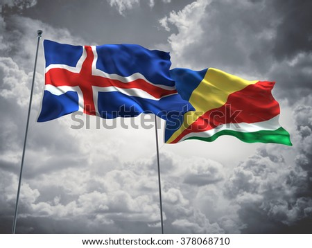 Iceland & Seychelles Flags are waving in the sky with dark clouds