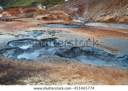 Iceland: sulfur puddles in Hverir on August 28, 2012. Hverir is a geothermal area in the Myvatn region, in the north of the island: it's famous for its fumaroles, hot springs and sulfur