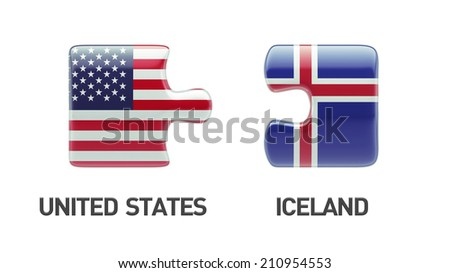 Iceland United States High Resolution Puzzle Concept