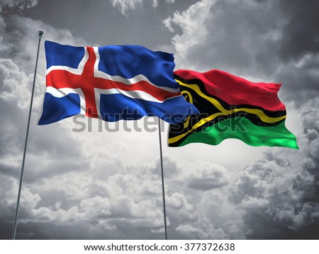 Iceland & Vanuatu Flags are waving in the sky with dark clouds