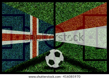 Iceland vs Hungary football flag background on green pitch 2016 - stock photo