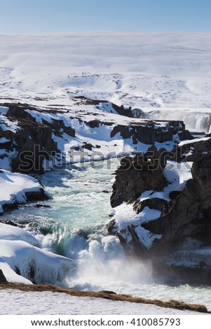 Iceland waterfall natural landscape, Godafoss