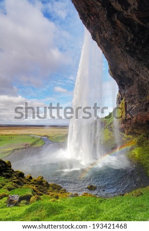 Iceland waterfall - Seljalandsfoss - stock photo