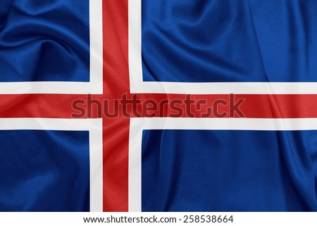 Iceland - Waving national flag on silk texture