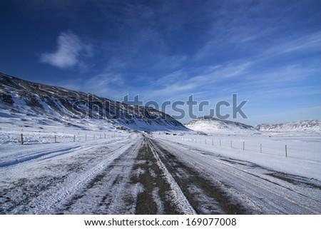 Iceland / Winter Road - stock photo