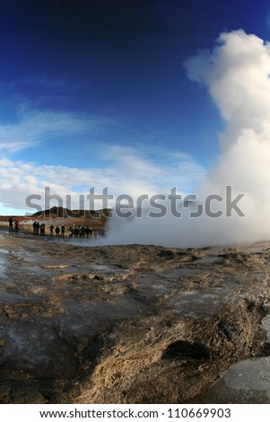 Iceland with fisheye. Geyser.