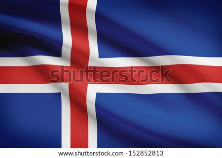 Icelandic flag blowing in the wind. Part of a series.