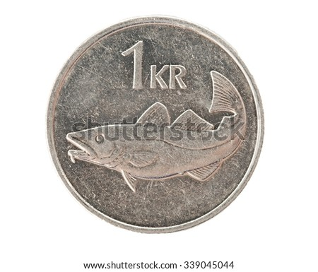 Icelandic one krona coin isolated - stock photo