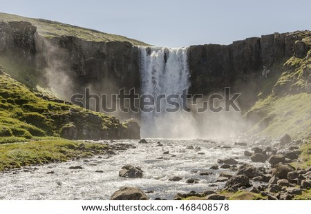 Icelandic waterfall, mountains, rivulets in summer day