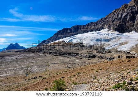 Iceline trail in Yoho National Park along with glaciers, British Colombia, Canada - stock photo