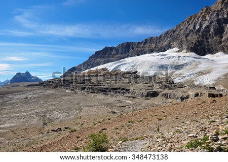 Iceline trail in Yoho National Park along with glaciers, British Colombia, Canada. - stock photo