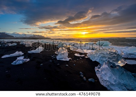 Ices on the beach at Jokulsarlon - southeast Iceland