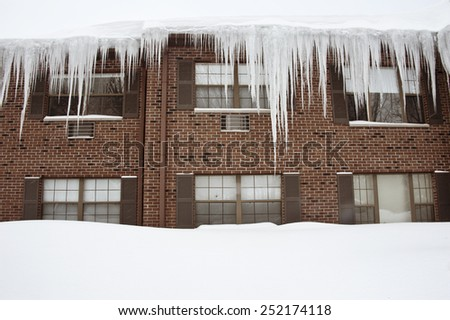 Icicles after  snow storms in Boston - stock photo