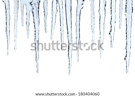 Icicles cut out, isolated on white background - stock photo