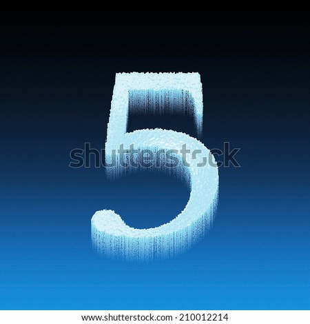 Icing alphabet digit number 5 five isolated on blue background - stock photo