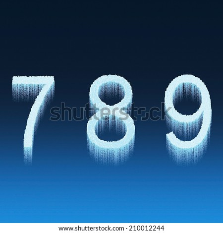 Icing alphabet digit number 7 8 9 seven, eight, nine isolated on blue background - stock photo