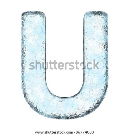 Icing alphabet the letter U (High definition isolated on white) - stock photo