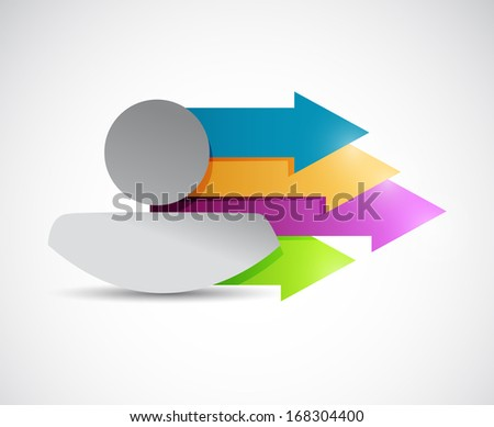 icon and color arrows. illustration design over a white background - stock photo
