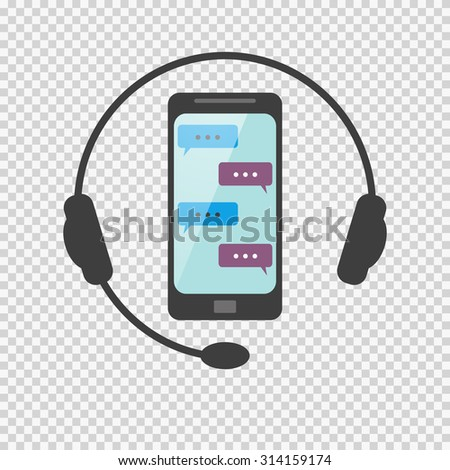 Icon answers to questions on the network by phone call or via SMS. non-stop service. customer service - stock photo