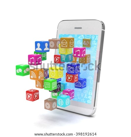 icon app fall in smart phone. 3D rendering. - stock photo
