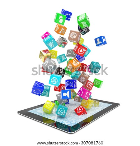icon app fall in tablet pc - stock photo