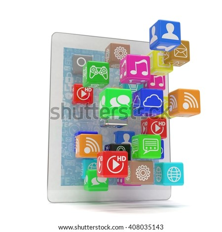 icon app fall in tablet pc. 3d rendering.
