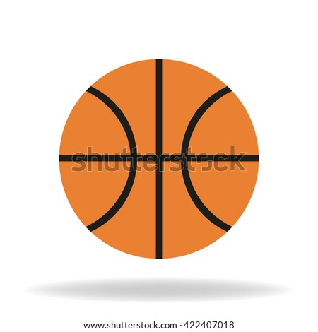 Icon basketball ball  with shadow on a white background - stock photo