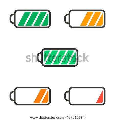 Icon battery with a charge level colored raster - stock photo