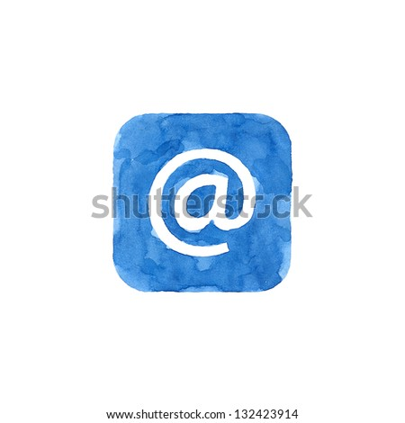 Icon blue button with at sign. Isolated rounded square shape on white background created in watercolor handmade technique. Colored web design element UI user interface - stock photo