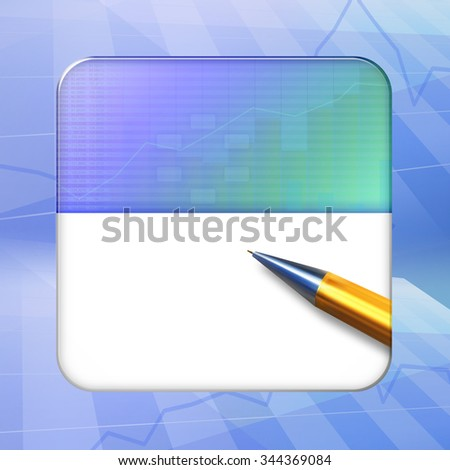 Icon (button) on blue background, template for financial applications (app), web user interfaces, internet sites and business presentations. - stock photo