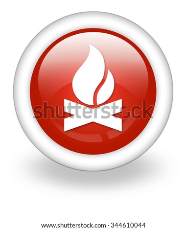 Icon, Button, Pictogram with Campfire symbol - stock photo