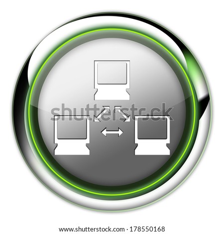 Icon, Button, Pictogram with Network symbol - stock photo