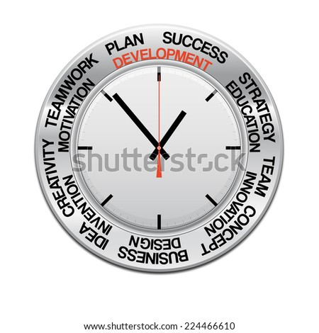 icon clock , red arrow specifies in a word development,  for Your successful business design or presentation