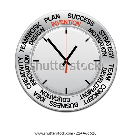 icon clock , red arrow specifies in a word invention,  for Your successful business design or presentation