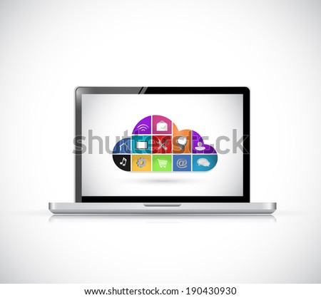 icon cloud computing computer concept illustration design over a white background - stock photo