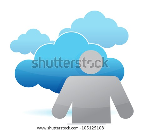 icon cloud computing illustration design over white - stock photo