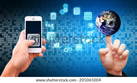 icon control from mobile phone : Elements of this image furnished by NASA - stock photo