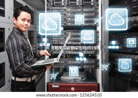 Icon control in data center room - stock photo
