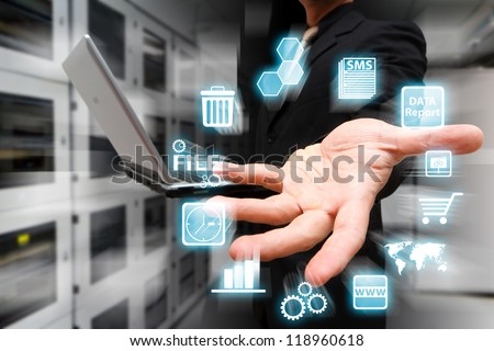 Icon control on the hand - stock photo