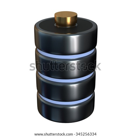 Icon disk a database of battery concept isolated on white background. The concept of storage. 3d illustration. - stock photo
