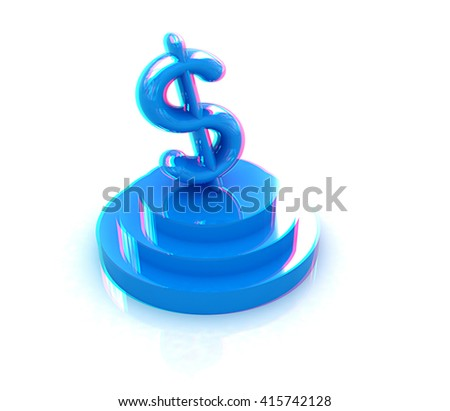icon dollar sign on podium on a white background . 3D illustration. Anaglyph. View with red/cyan glasses to see in 3D. - stock photo