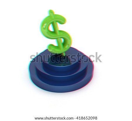 icon dollar sign on podium on a white background. 3D illustration. Anaglyph. View with red/cyan glasses to see in 3D. - stock photo